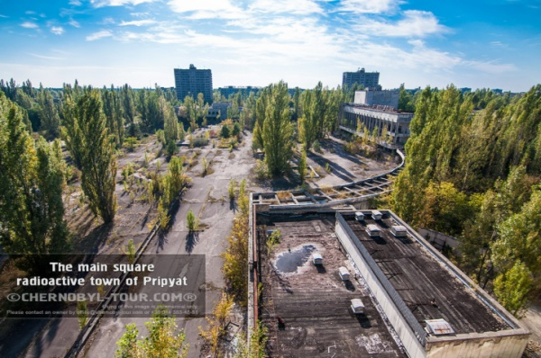 The main square of radioactive Pripyat town